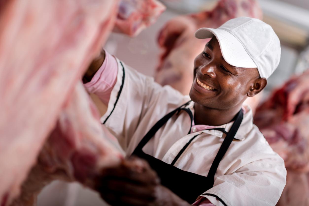 Butcher preparing the meat